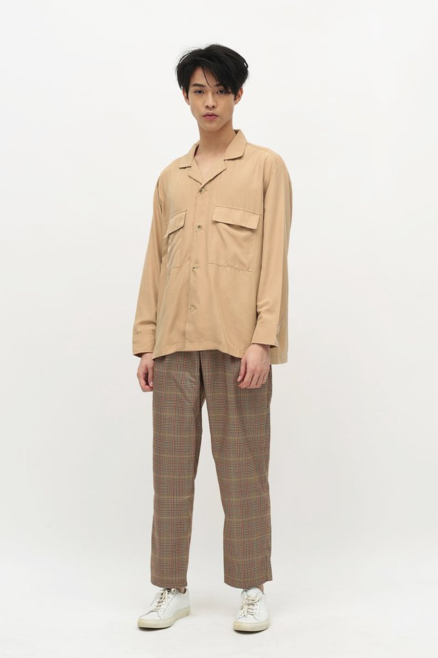 LOREN CAMP COLLAR POCKET SHIRT IN PEACH