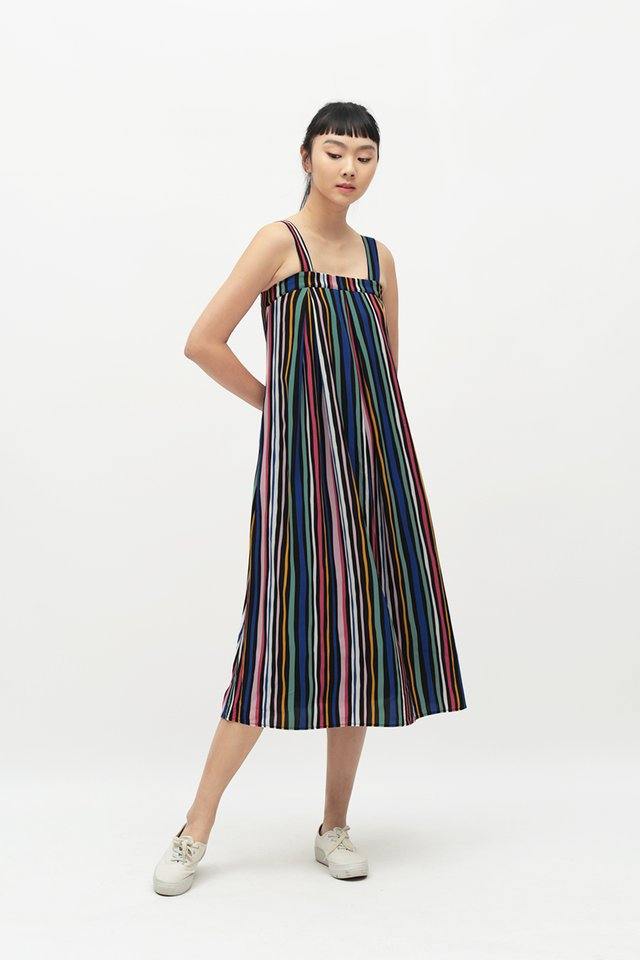 MAE STRIPE MIDI DRESS IN BLACK