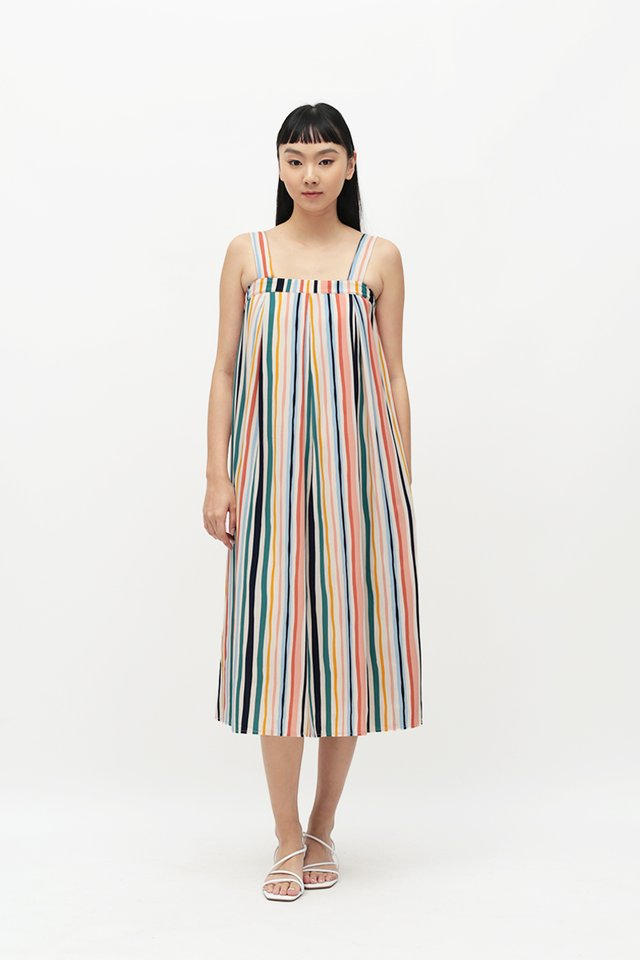 MAE STRIPE MIDI DRESS IN WHITE
