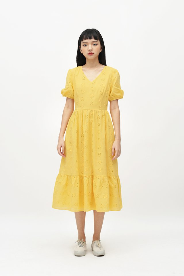 MARIGNAN EYELET DRESS IN SUNSHINE