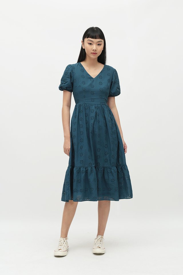 MARIGNAN EYELET DRESS IN PACIFIC BLUE
