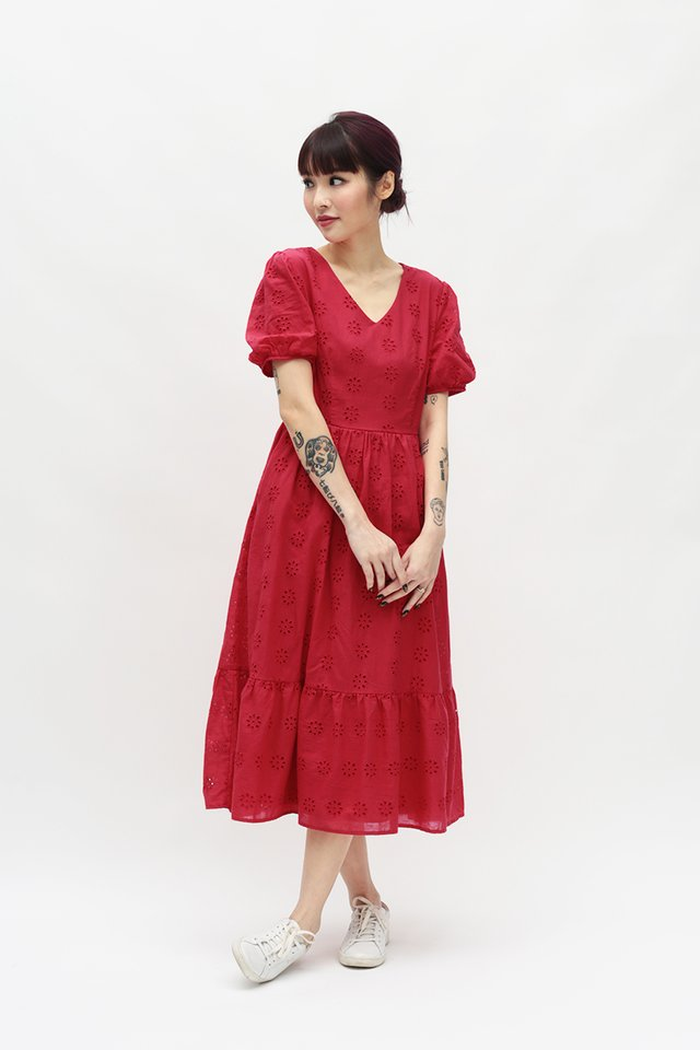 MARIGNAN EYELET DRESS IN RED