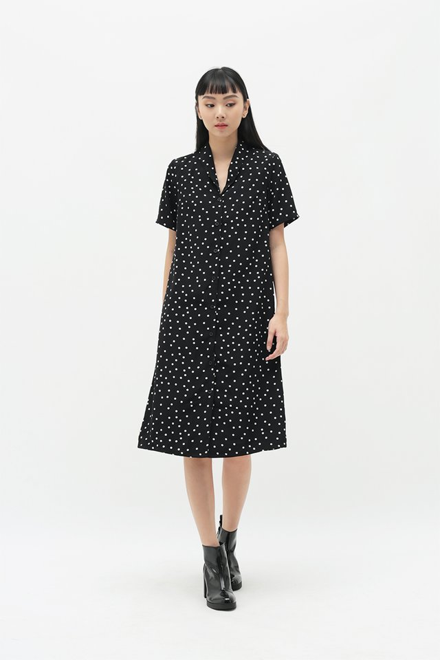 MONA POLKADOT SHIRT DRESS IN BLACK