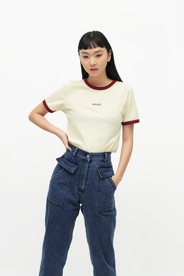 OXOX RINGER TEE IN CREAM MAROON