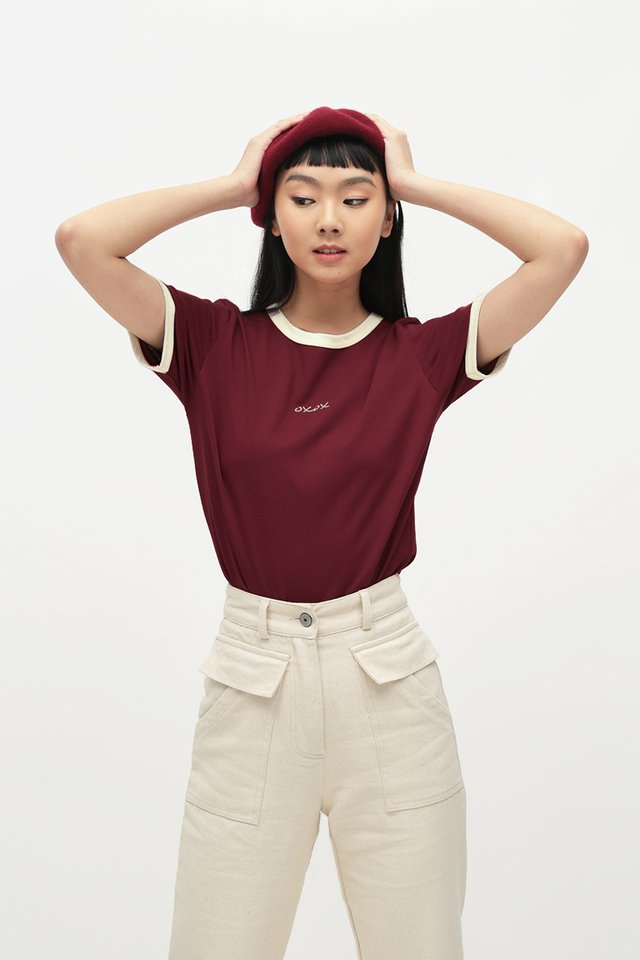 OXOX RINGER TEE IN MAROON