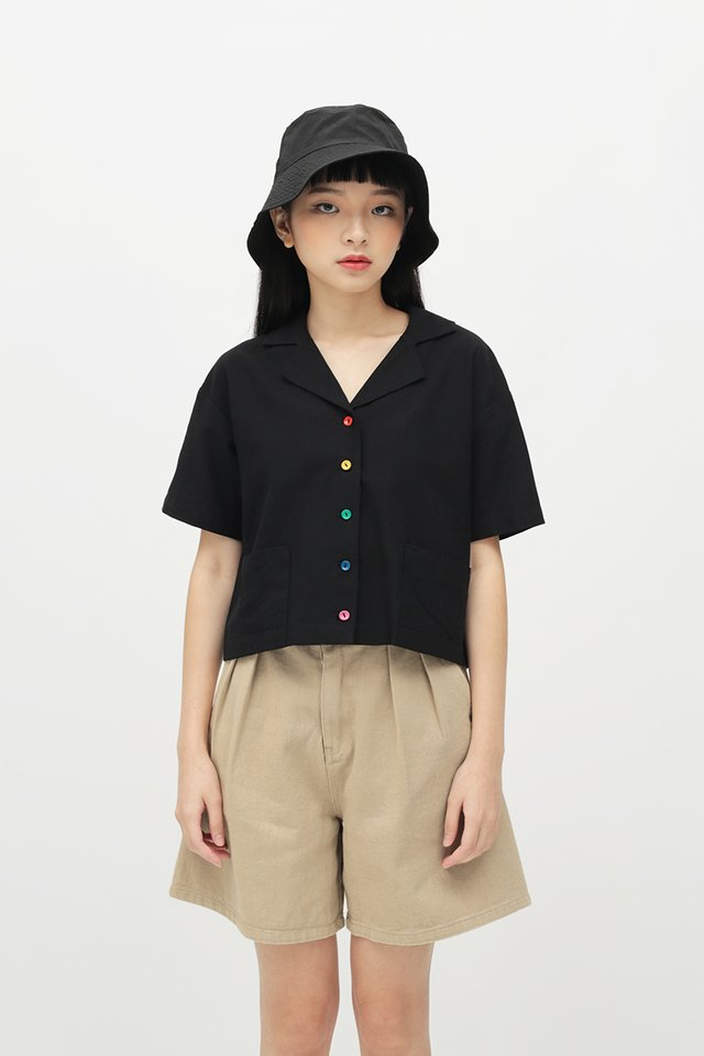 RAINBOW CONNECTION BUTTON SHIRT IN BLACK