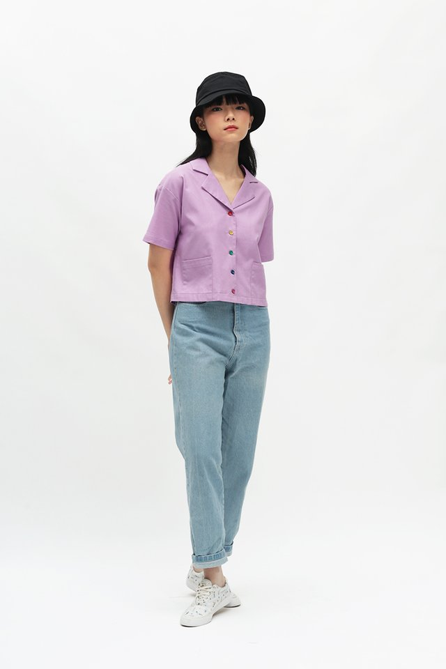 RAINBOW CONNECTION BUTTON SHIRT IN LILAC