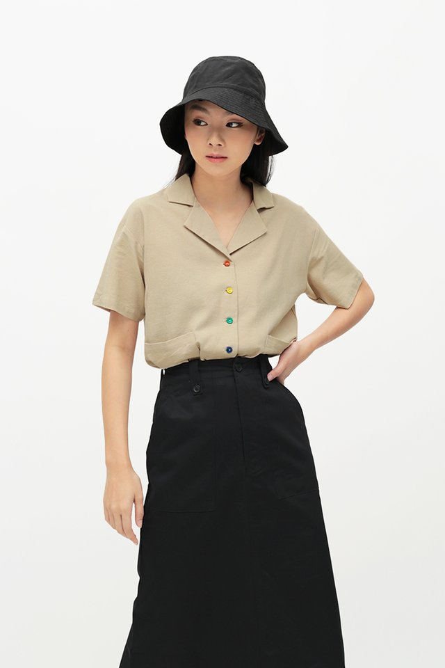 RAINBOW CONNECTION BUTTON SHIRT IN TAUPE