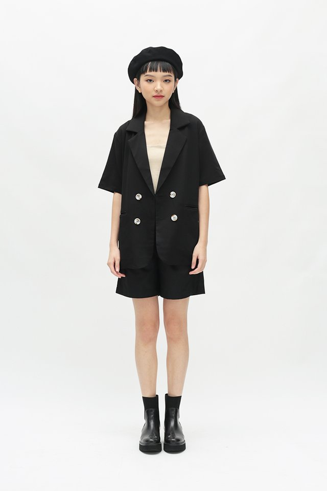 BLAISE SHORT SLEEVE BLAZER IN BLACK