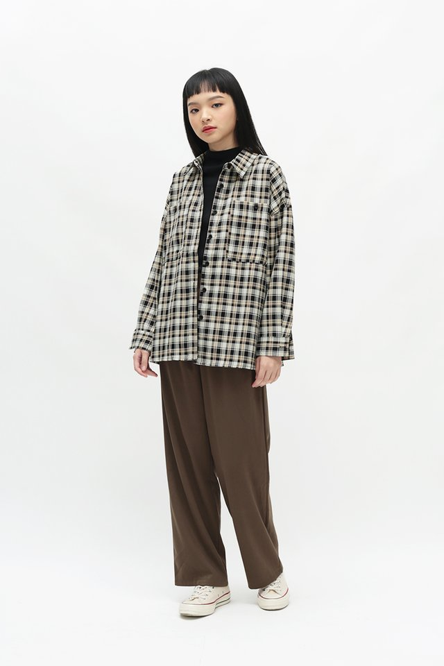 CAMILLE CHECKERED BOYFRIEND SHIRT IN BLACK