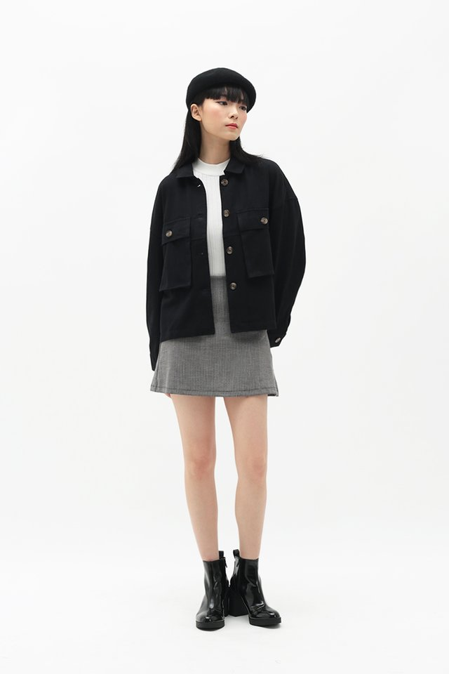 EDNA OVERSIZED JACKET IN BLACK