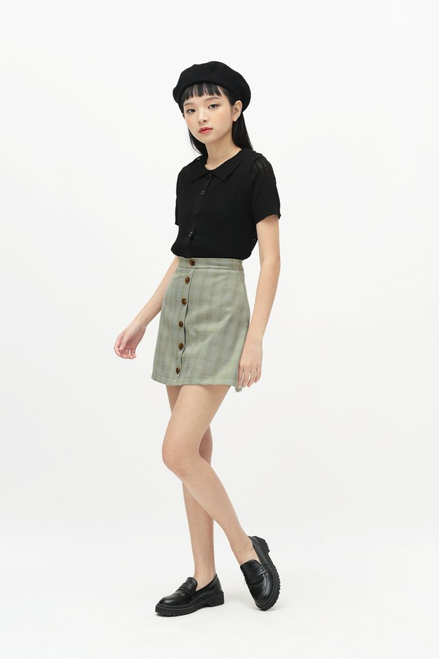 EMMIE CHECKERED SKORTS IN OLIVE