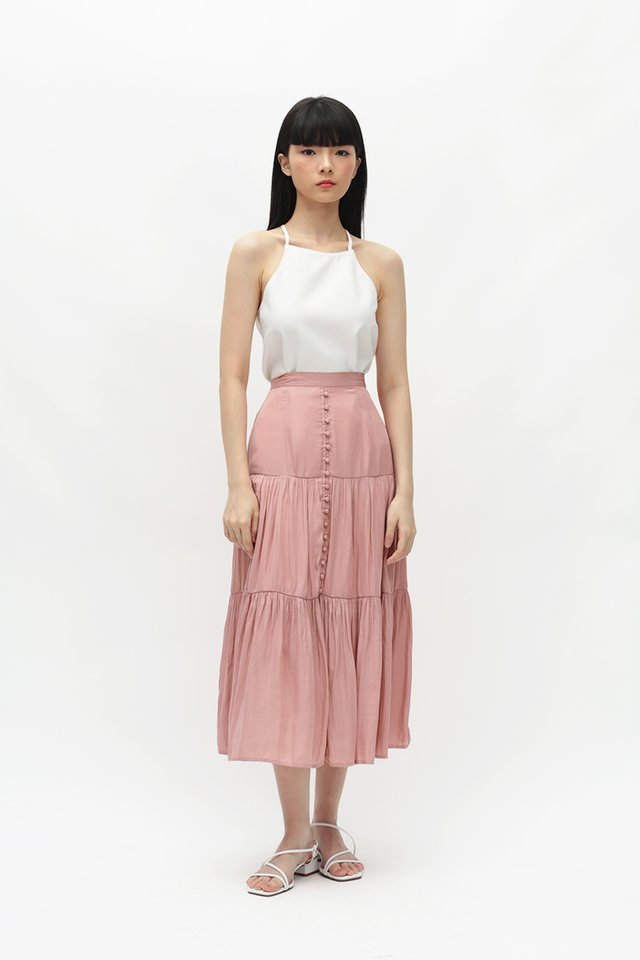 FARRAH MIDI SKIRT IN FRENCH ROSE