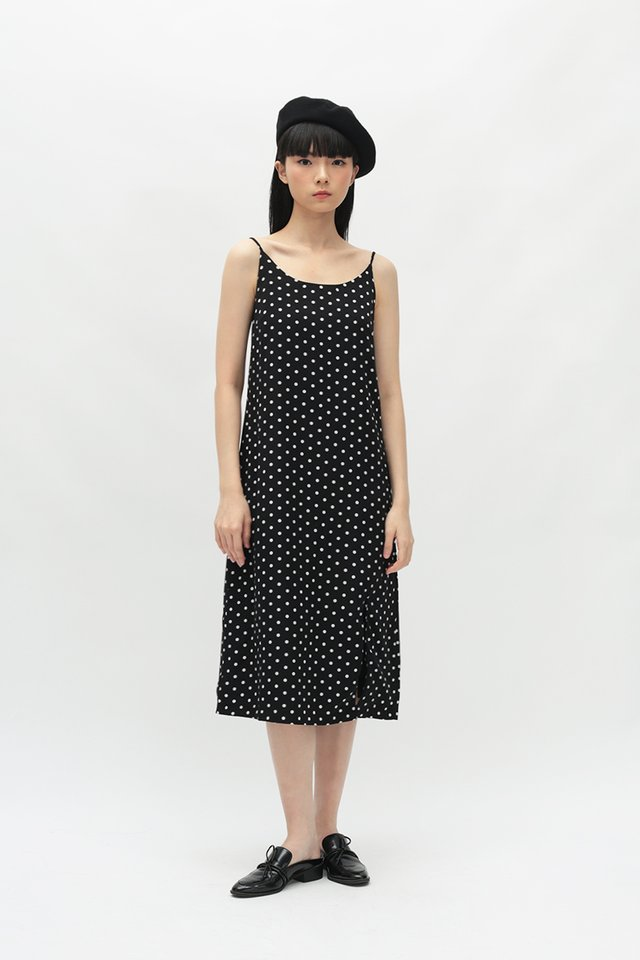 GABRIELLA POLKADOT SPAG DRESS IN BLACK