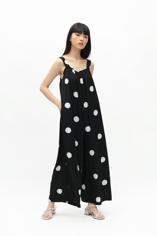 JANAE POLKADOT WIDE LEG JUMPSUIT IN BLACK