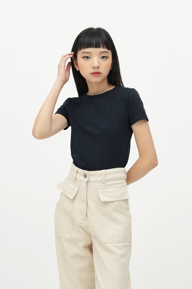 JERRIKA CROP TEE IN NAVY