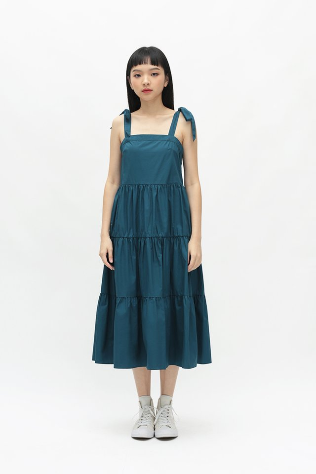 SASHA FAUX TIE TIER DRESS IN CERULEAN