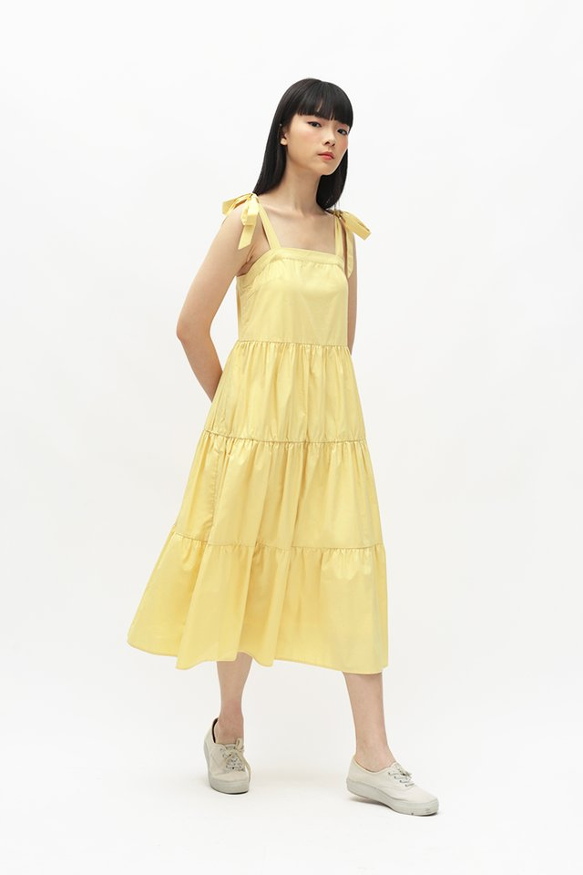 SASHA FAUX TIE TIER DRESS IN DAFFODIL