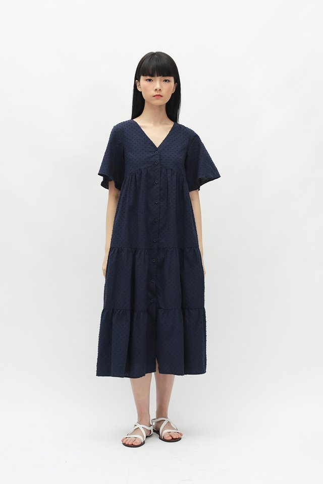 ANGELICA FLARE SLEEVE DRESS IN NAVY