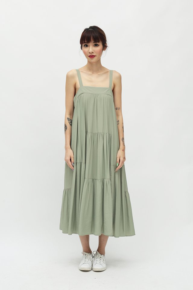 EXIE MULTI PANEL DRESS IN THYME